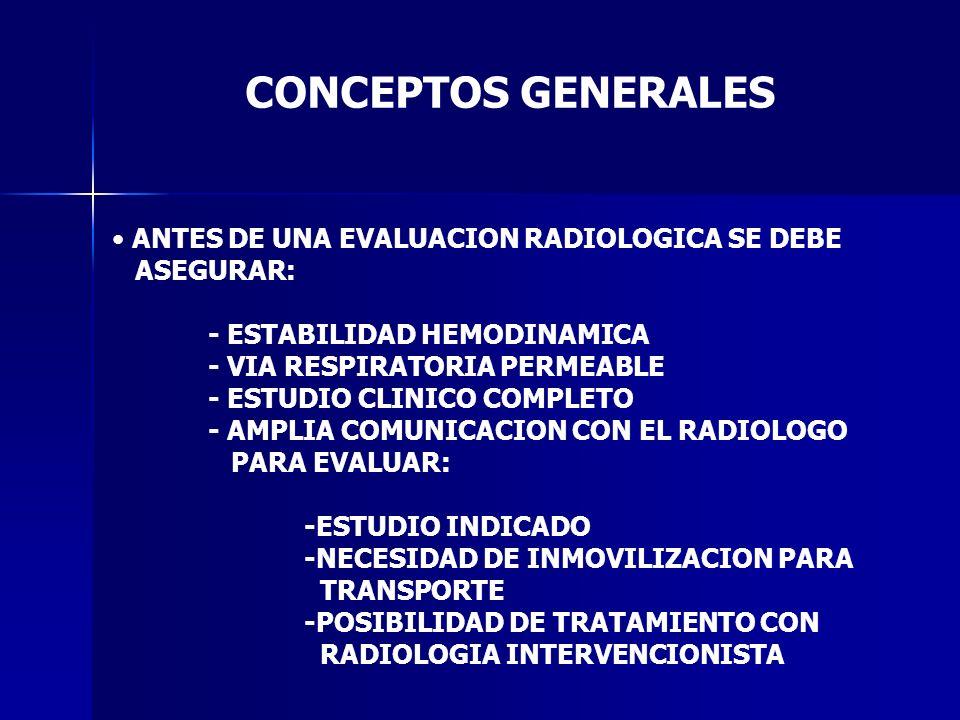 CONCEPTOS GENERALES ANTES DE UNA EVALUACION RADIOLOGICA SE DEBE ASEGURAR: - ESTABILIDAD HEMODINAMICA - VIA RESPIRATORIA PERMEABLE - ESTUDIO CLINICO CO