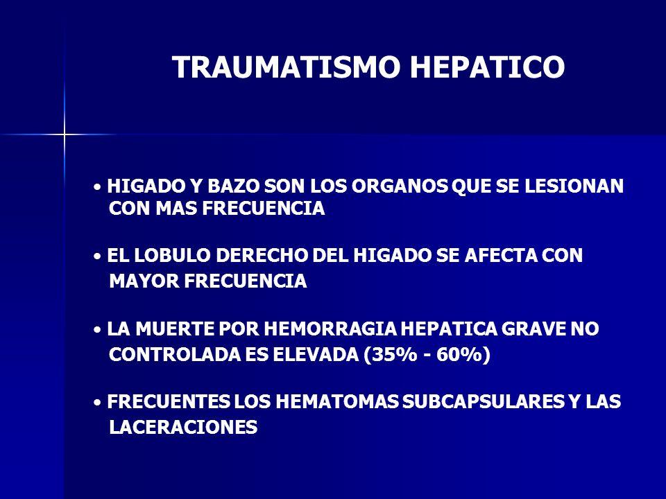 TRAUMATISMO HEPATICO HIGADO Y BAZO SON LOS ORGANOS QUE SE LESIONAN CON MAS FRECUENCIA EL LOBULO DERECHO DEL HIGADO SE AFECTA CON MAYOR FRECUENCIA LA M