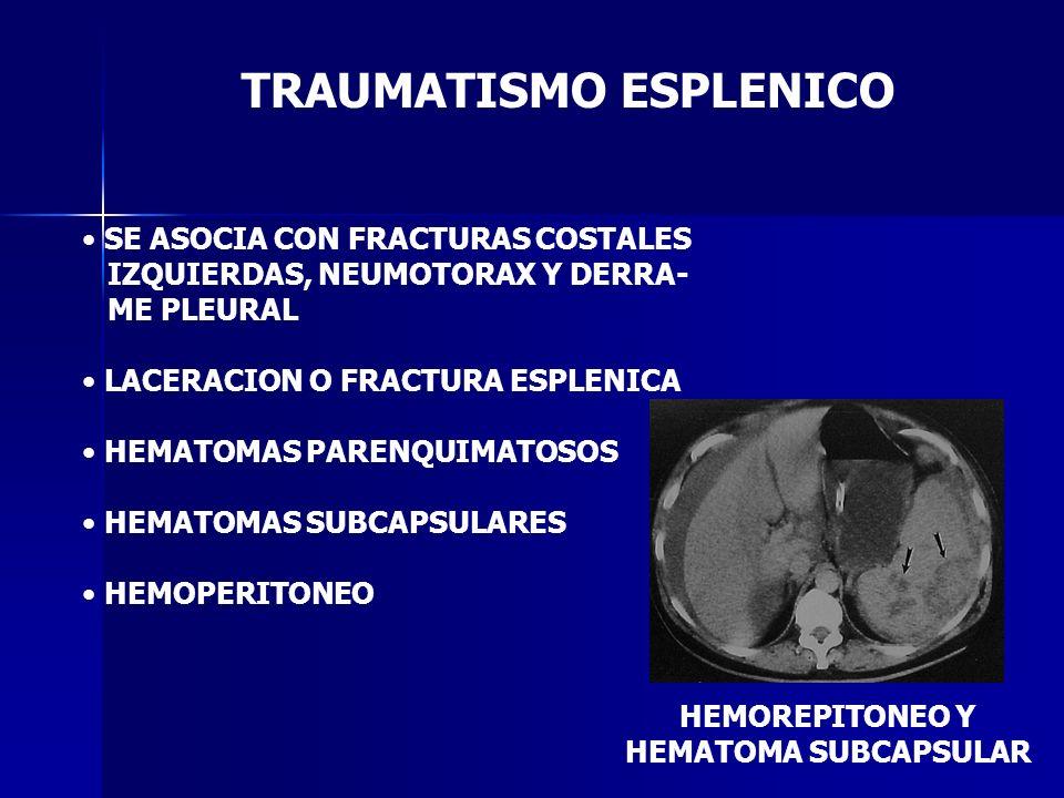 TRAUMATISMO ESPLENICO SE ASOCIA CON FRACTURAS COSTALES IZQUIERDAS, NEUMOTORAX Y DERRA- ME PLEURAL LACERACION O FRACTURA ESPLENICA HEMATOMAS PARENQUIMA
