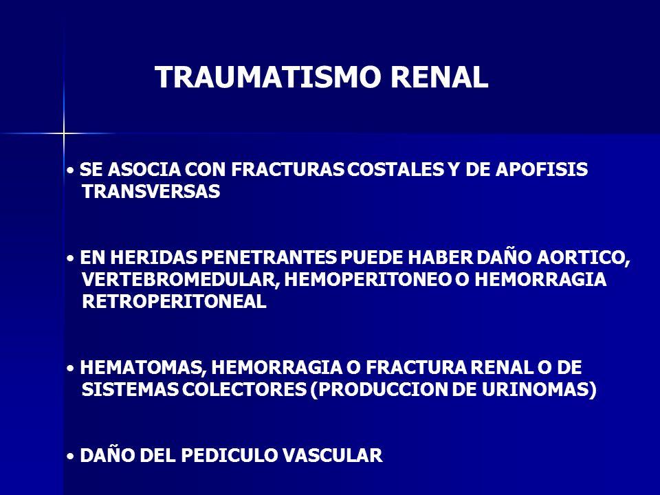 TRAUMATISMO RENAL SE ASOCIA CON FRACTURAS COSTALES Y DE APOFISIS TRANSVERSAS EN HERIDAS PENETRANTES PUEDE HABER DAÑO AORTICO, VERTEBROMEDULAR, HEMOPER