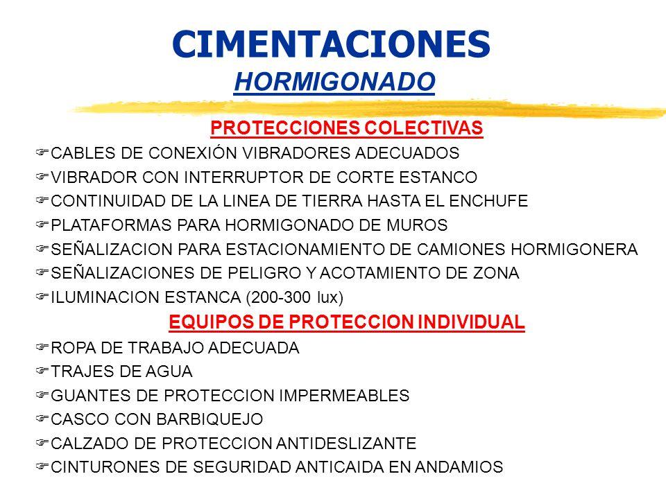CIMENTACIONES HORMIGONADO PROTECCIONES COLECTIVAS CABLES DE CONEXIÓN VIBRADORES ADECUADOS VIBRADOR CON INTERRUPTOR DE CORTE ESTANCO CONTINUIDAD DE LA