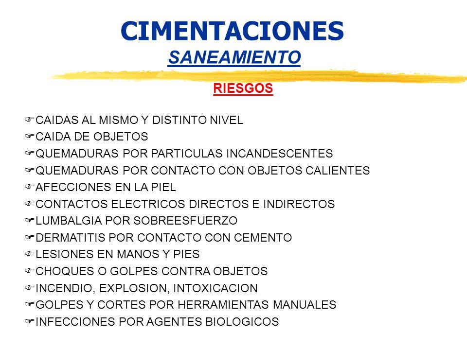 CIMENTACIONES SANEAMIENTO RIESGOS CAIDAS AL MISMO Y DISTINTO NIVEL CAIDA DE OBJETOS QUEMADURAS POR PARTICULAS INCANDESCENTES QUEMADURAS POR CONTACTO C