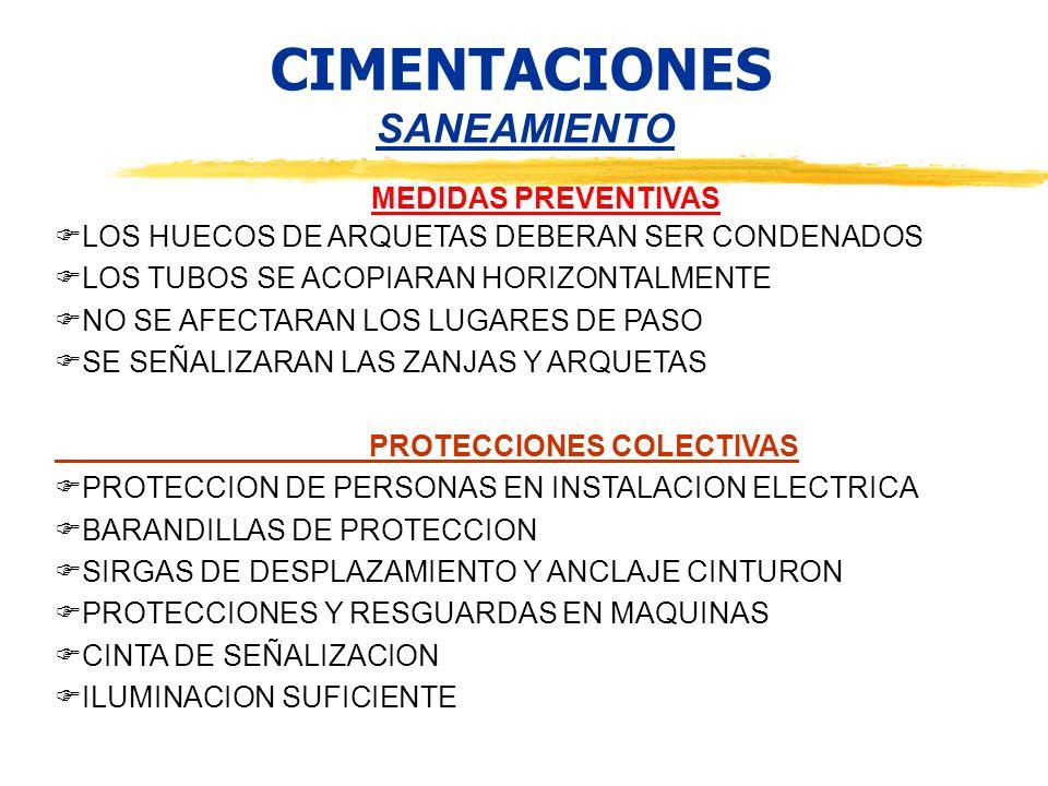 CIMENTACIONES SANEAMIENTO MEDIDAS PREVENTIVAS LOS HUECOS DE ARQUETAS DEBERAN SER CONDENADOS LOS TUBOS SE ACOPIARAN HORIZONTALMENTE NO SE AFECTARAN LOS