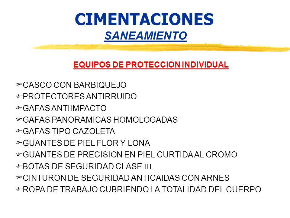 CIMENTACIONES SANEAMIENTO EQUIPOS DE PROTECCION INDIVIDUAL CASCO CON BARBIQUEJO PROTECTORES ANTIRRUIDO GAFAS ANTIIMPACTO GAFAS PANORAMICAS HOMOLOGADAS