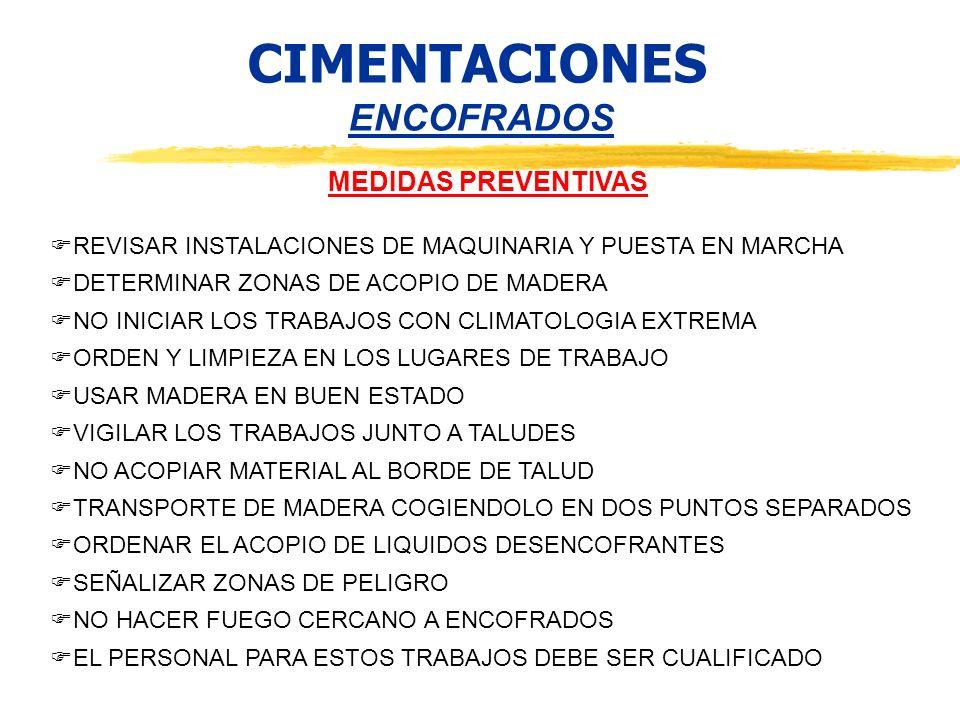 CIMENTACIONES ENCOFRADOS MEDIDAS PREVENTIVAS REVISAR INSTALACIONES DE MAQUINARIA Y PUESTA EN MARCHA DETERMINAR ZONAS DE ACOPIO DE MADERA NO INICIAR LO