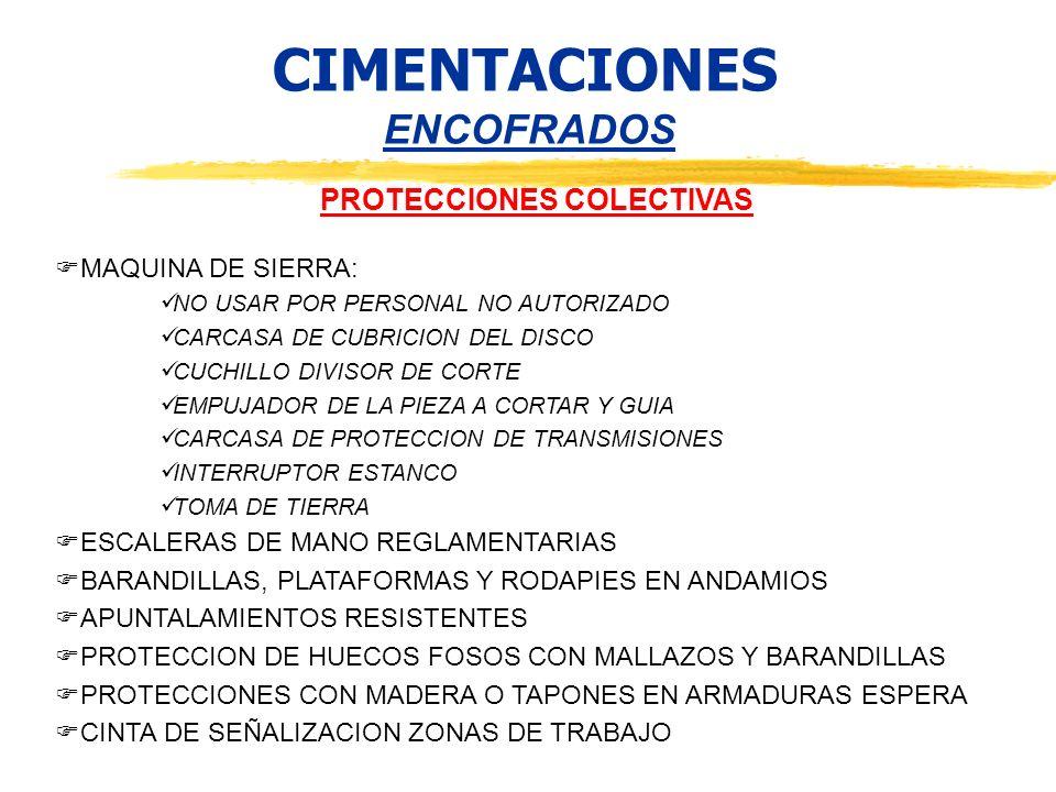 CIMENTACIONES ENCOFRADOS PROTECCIONES COLECTIVAS MAQUINA DE SIERRA: NO USAR POR PERSONAL NO AUTORIZADO CARCASA DE CUBRICION DEL DISCO CUCHILLO DIVISOR