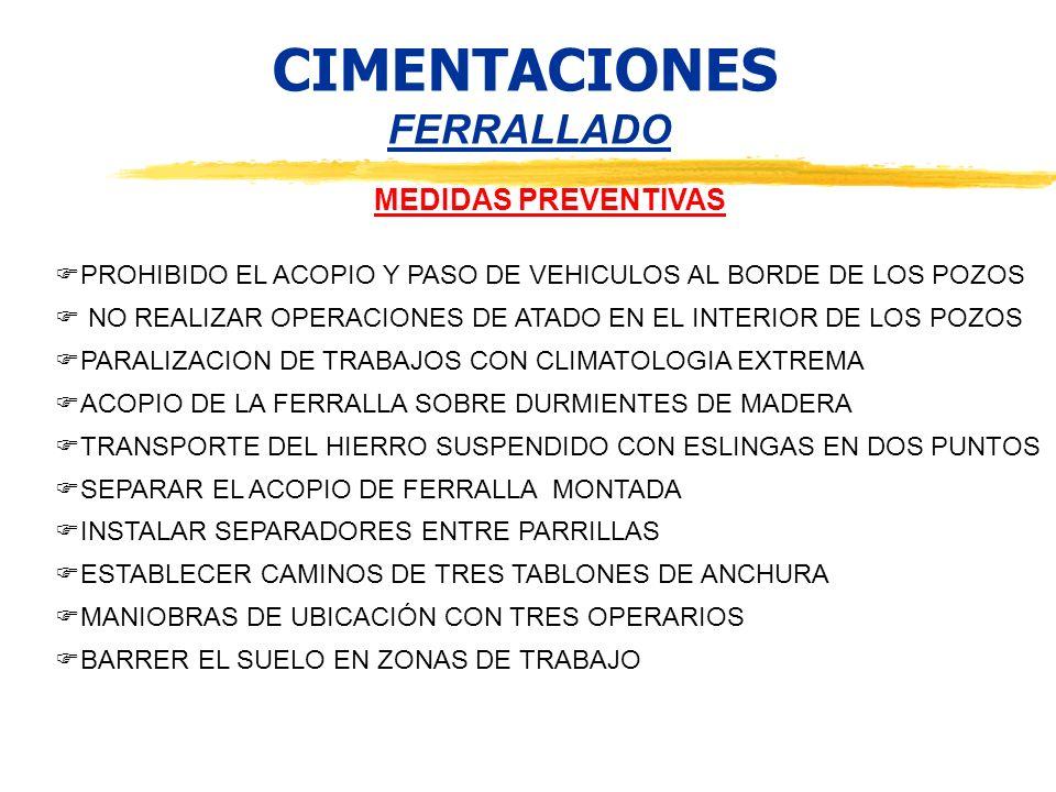 CIMENTACIONES FERRALLADO MEDIDAS PREVENTIVAS PROHIBIDO EL ACOPIO Y PASO DE VEHICULOS AL BORDE DE LOS POZOS NO REALIZAR OPERACIONES DE ATADO EN EL INTE