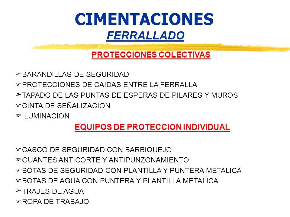CIMENTACIONES FERRALLADO PROTECCIONES COLECTIVAS BARANDILLAS DE SEGURIDAD PROTECCIONES DE CAIDAS ENTRE LA FERRALLA TAPADO DE LAS PUNTAS DE ESPERAS DE