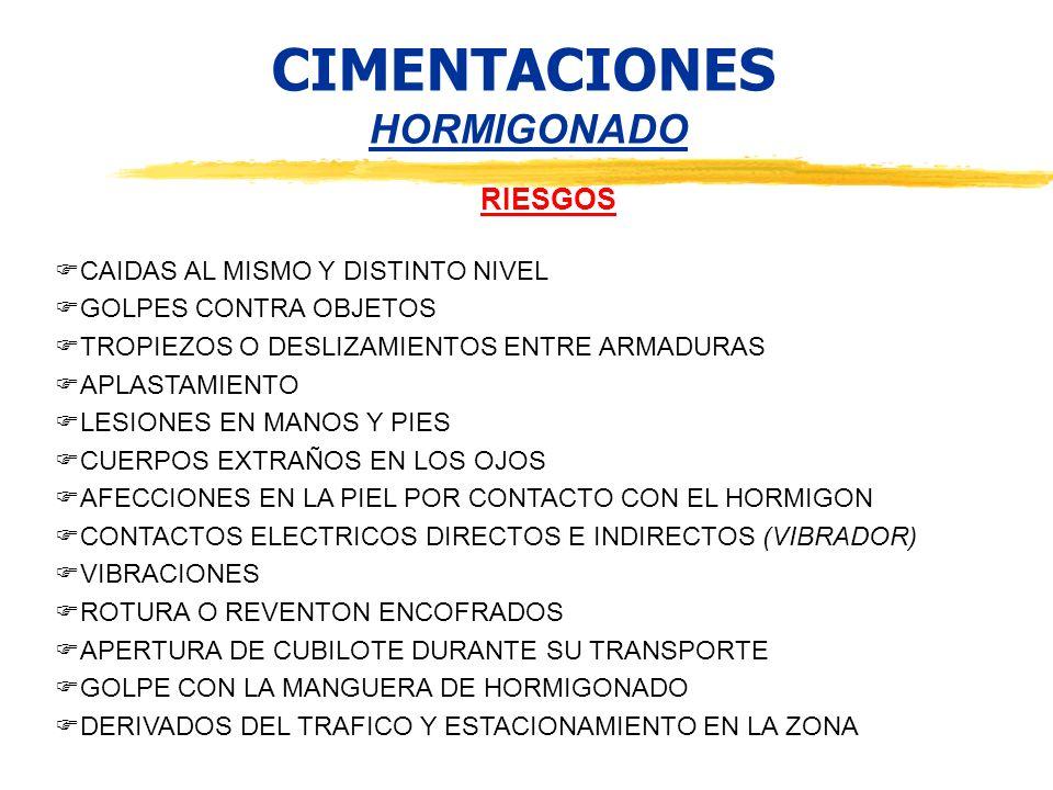CIMENTACIONES HORMIGONADO RIESGOS CAIDAS AL MISMO Y DISTINTO NIVEL GOLPES CONTRA OBJETOS TROPIEZOS O DESLIZAMIENTOS ENTRE ARMADURAS APLASTAMIENTO LESI