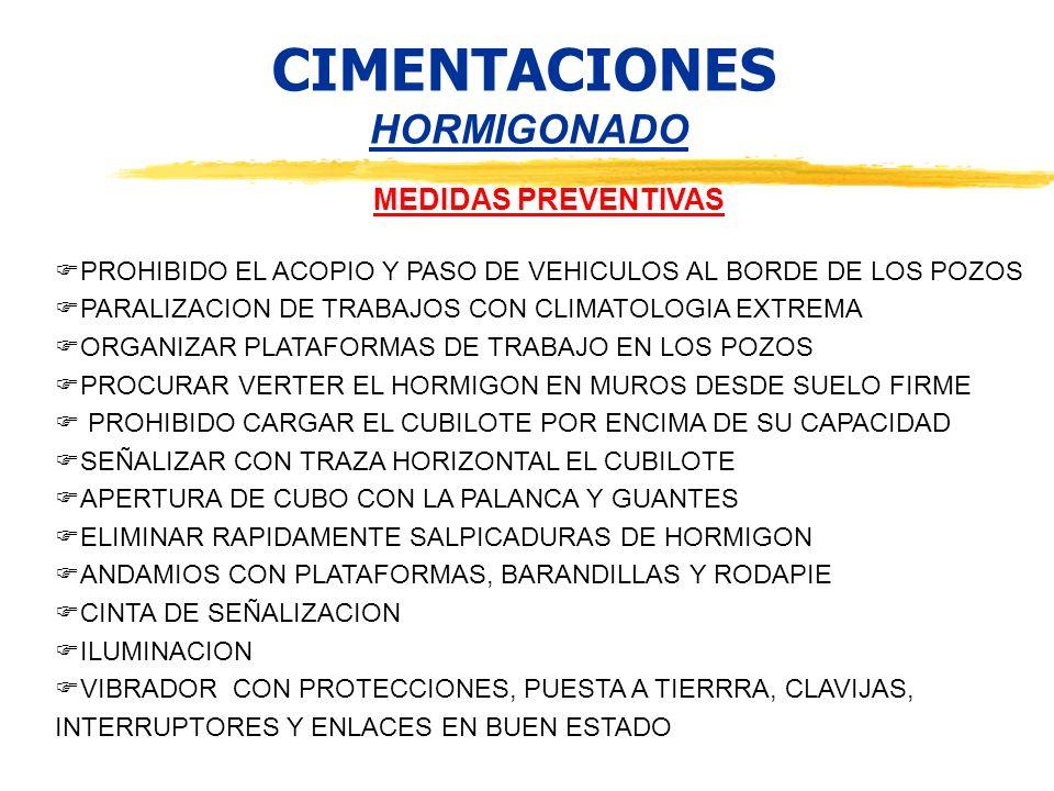CIMENTACIONES HORMIGONADO MEDIDAS PREVENTIVAS PROHIBIDO EL ACOPIO Y PASO DE VEHICULOS AL BORDE DE LOS POZOS PARALIZACION DE TRABAJOS CON CLIMATOLOGIA