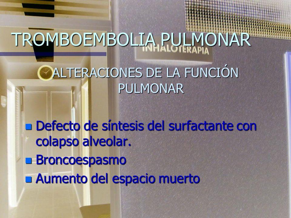 TROMBOEMBOLIA PULMONAR FISIOPATOLOGÍA Las manifestaciones clínicas son en gran parte secundarias al desarrollo de hipertensión pulmonar de magnitud y