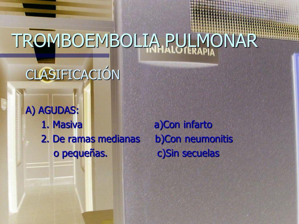 TROMBOEMBOLIA PULMONAR ALTERACIONES DE LA FUNCIÓN PULMONAR n Defecto de síntesis del surfactante con colapso alveolar. n Broncoespasmo n Aumento del e
