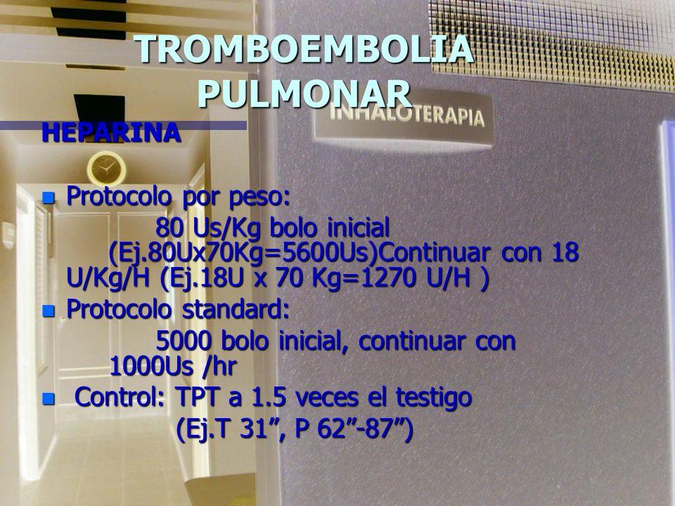 TROMBOEMBOLIA PULMONAR HEPARINA (HNF) n Exige monitorizar la dosificación utilizando el TPT, que es un test sensible sobre la inhibición de la trombin