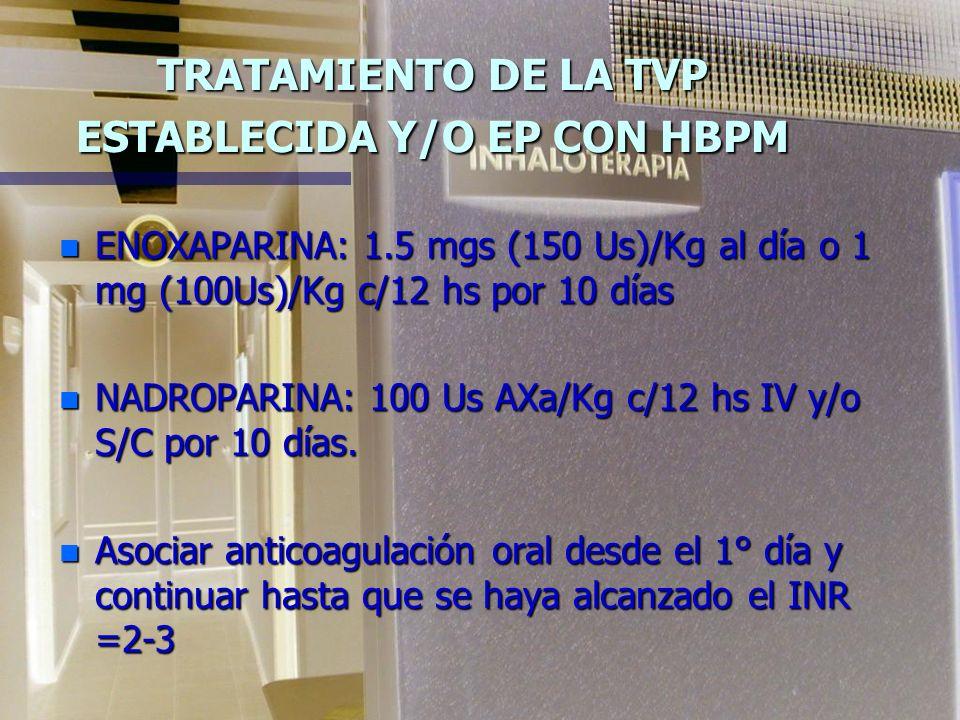 TROMBOEMBOLIA PULMONAR HEPARINAS FRACCIONADAS DE BAJO PESO MOLECULAR n Se administra por via s/c o IV n No precisa de monitorización n Tiene menor inc