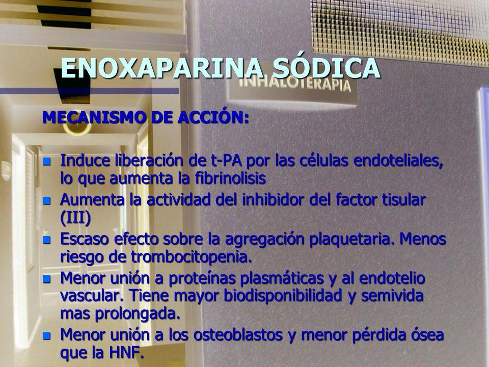 HEPARINA DE BAJO PESO MOLECULAR ENOXAPARINA (CLEXANE) n Fragmento obtenido de la HNF de mucosa intestinal de cerdo. n PM medio 4.5 KDa (3.8-5.6) n Ele