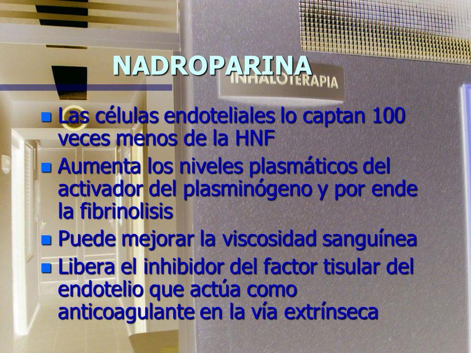 HEPARINA DE BAJO PESO MOLECULAR NADROPARINA CÁLCICA (Fraxiparine) n Glicosaminoglicano derivado de la heparina con gran actividad anti Xa y débil acci