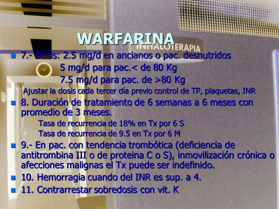TROMBOEMBOLIA PULMONAR WARFARINA n 2.Las dosis terapéuticas disminuyen la cantidad total de la forma activa de cada uno de los factores elaborados en