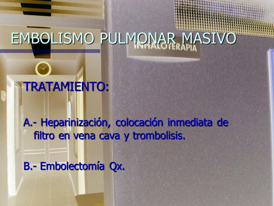 EMBOLISMO PULMONAR MASIVO Oclusión superior al 50 % del lecho vascular pulmonar. Oclusión superior al 50 % del lecho vascular pulmonar. PMAP > de 30 m