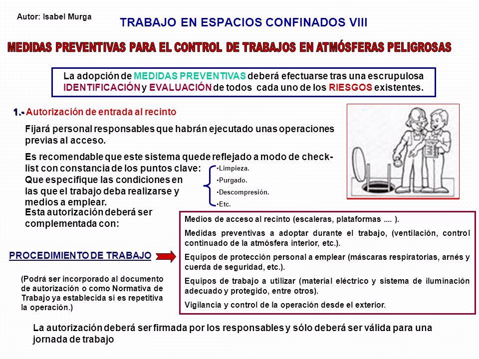 TRABAJO EN ESPACIOS CONFINADOS VIII La adopción de MEDIDAS PREVENTIVAS deberá efectuarse tras una escrupulosa IDENTIFICACIÓN y EVALUACIÓN de todos cad