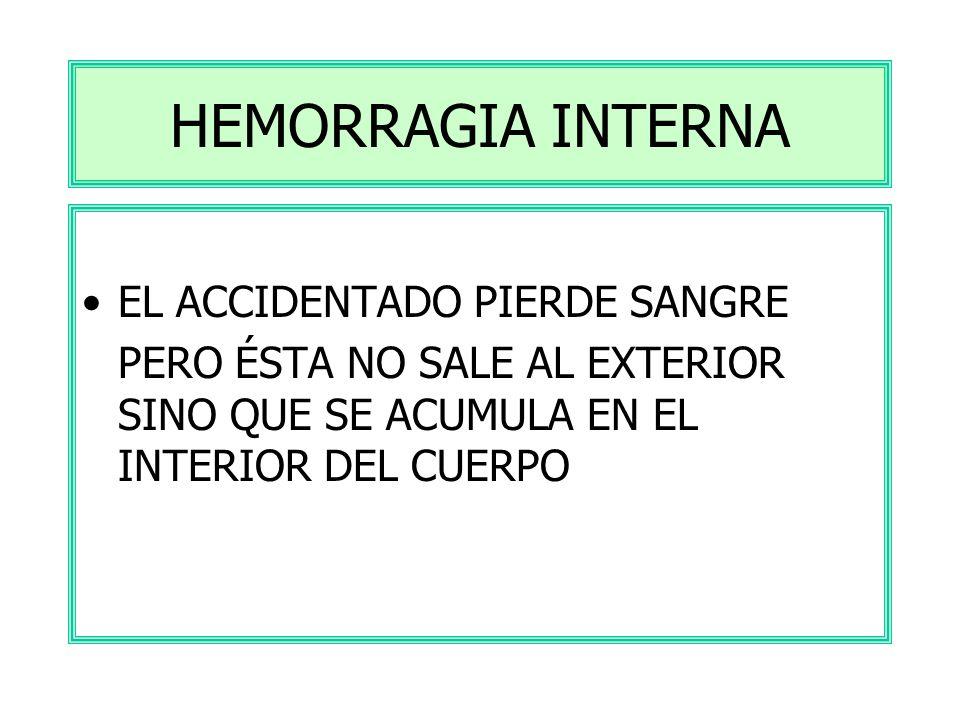 HEMORRAGIA EXTERNA VIOLENTAMENTE 1.COMPRIMIR LA HERIDA CON UNA GASA 2.TUMBAR AL HERIDO PARA EVITAR DESMAYO 3.AVISAR URGENTEMENTE AL MÉDICO FLUYE SUAVE