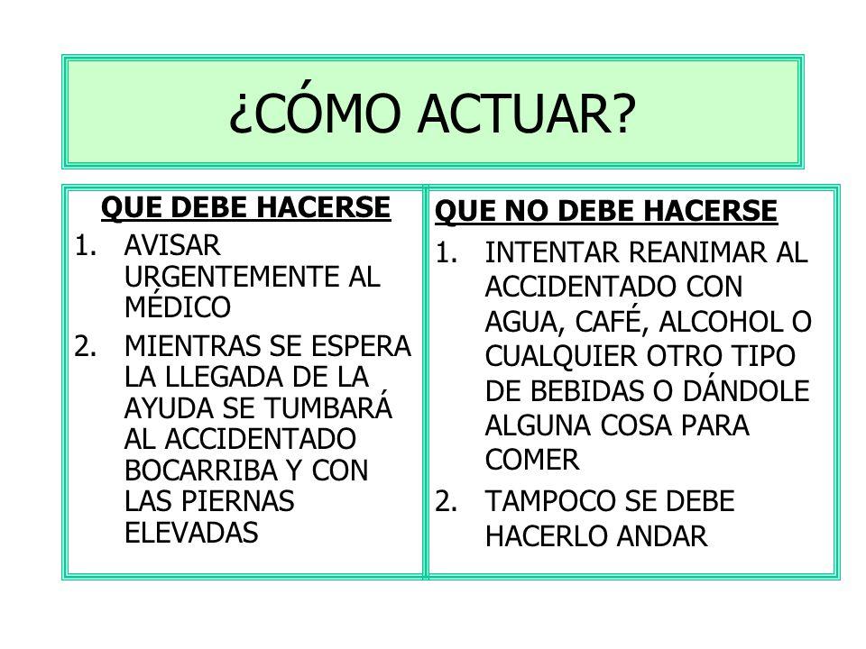 HEMORRAGIA INTERNA SINTOMAS PALIDEZ PIEL FRÍA Y SUDOROSA SENSACIÓN DE MAREO DOLOR DE CABEZA TAQUICARDIA ( PULSO RÁPIDO) HIPOTENSIÓN ARTERIAL ( TENSIÓN