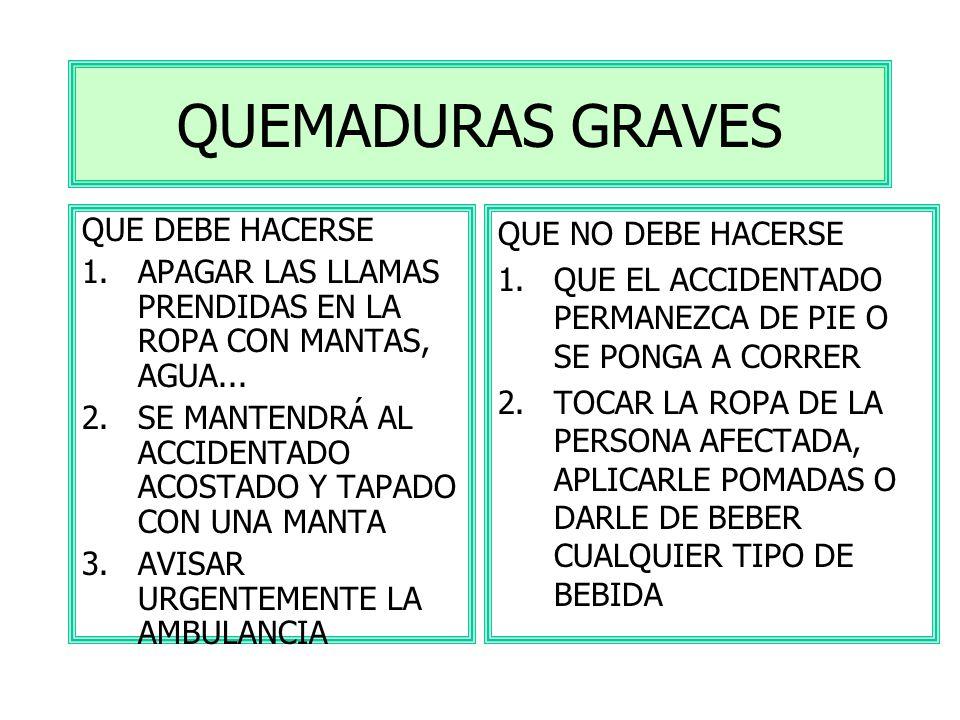 QUEMADURAS LEVES QUE DEBE HACERSE 1.DEJAR CORRER AGUA DEL GRIFO O SUERO FISIOLÓGICO 2.CUBRIR LA QUEMADA CON UNA GASA ESTÉRIL 3.CONSULTAR UN MÉDICO QUE