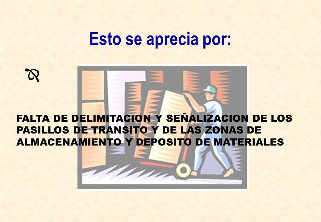 Esto se aprecia por: FALTA DE DELIMITACION Y SEÑALIZACION DE LOS PASILLOS DE TRANSITO Y DE LAS ZONAS DE ALMACENAMIENTO Y DEPOSITO DE MATERIALES
