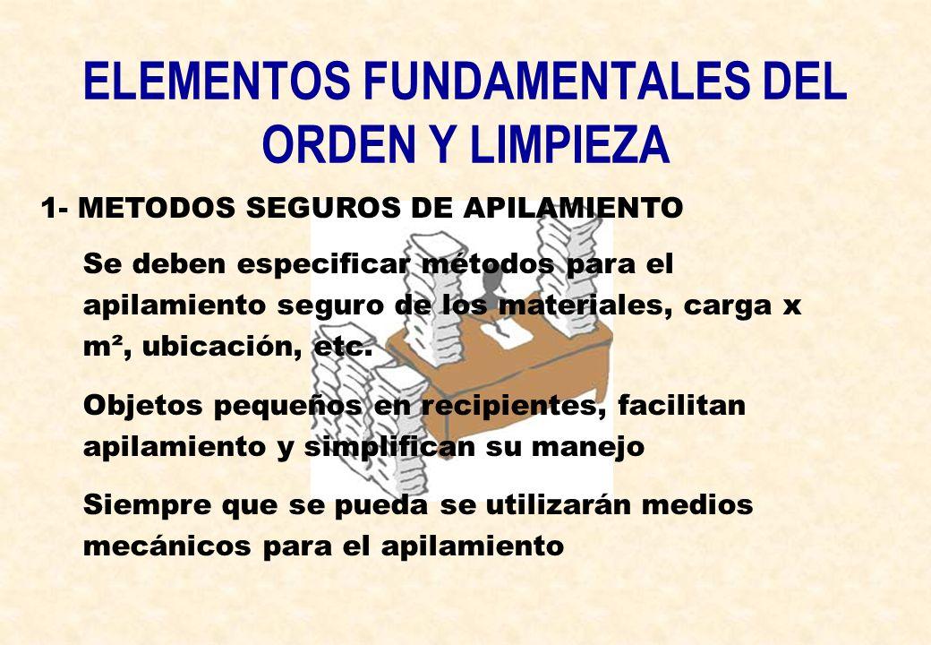 ELEMENTOS FUNDAMENTALES DEL ORDEN Y LIMPIEZA 1- METODOS SEGUROS DE APILAMIENTO Se deben especificar métodos para el apilamiento seguro de los material
