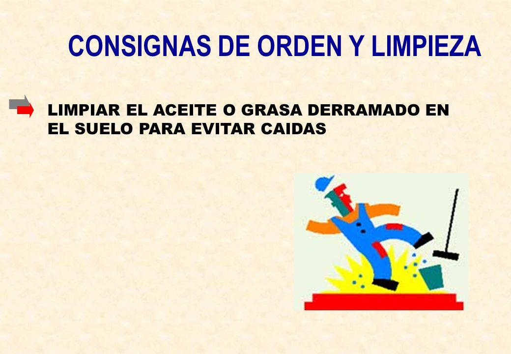 CONSIGNAS DE ORDEN Y LIMPIEZA LIMPIAR EL ACEITE O GRASA DERRAMADO EN EL SUELO PARA EVITAR CAIDAS