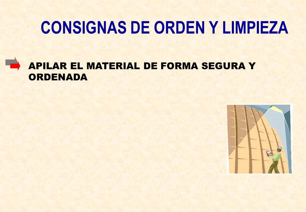 CONSIGNAS DE ORDEN Y LIMPIEZA APILAR EL MATERIAL DE FORMA SEGURA Y ORDENADA