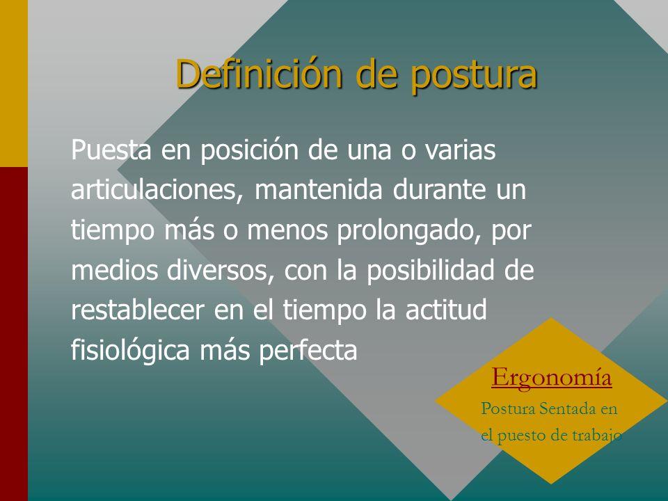 Tipos de posturas Bipedestación : Posición erguida Decúbito: Tumbado con la columna recta Sedestación : Posición sentada, miembros inferiores formando un ángulo más o menos recto, la columna vertebral recta y la cabeza mirando al frente