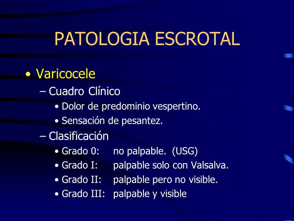 PATOLOGIA ESCROTAL Varicocele –Cuadro Clínico Dolor de predominio vespertino. Sensación de pesantez. –Clasificación Grado 0:no palpable.(USG) Grado I: