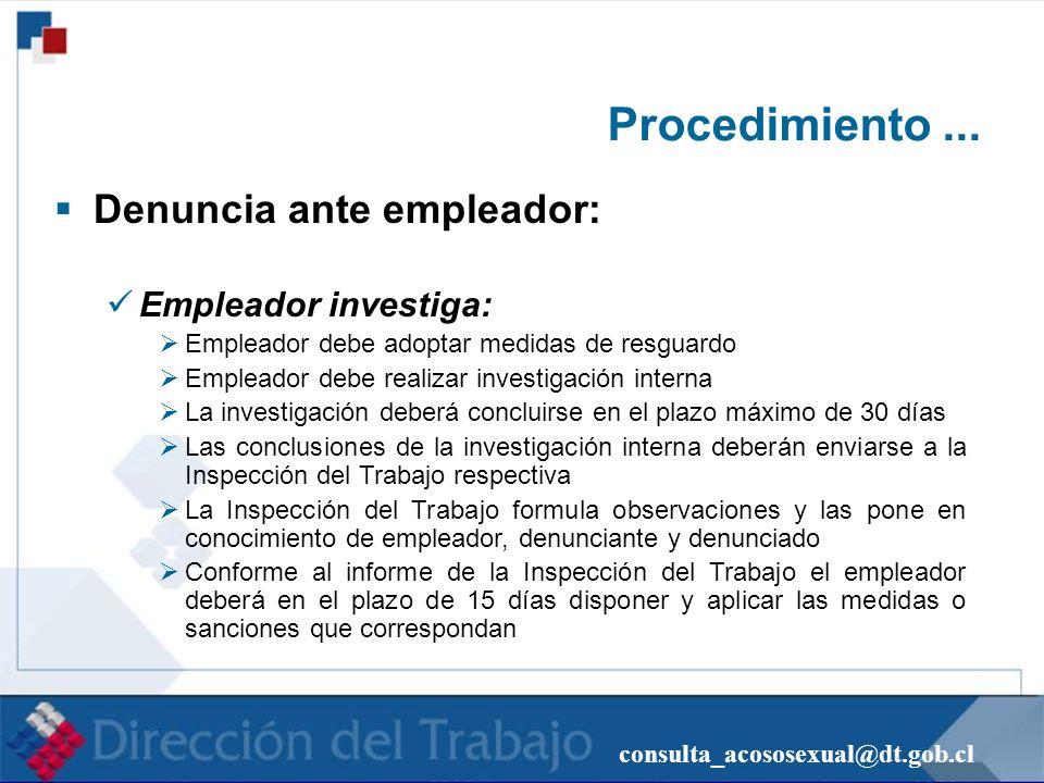 consulta_acososexual@dt.gob.cl Procedimiento... Denuncia ante empleador: Empleador investiga: Empleador debe adoptar medidas de resguardo Empleador de