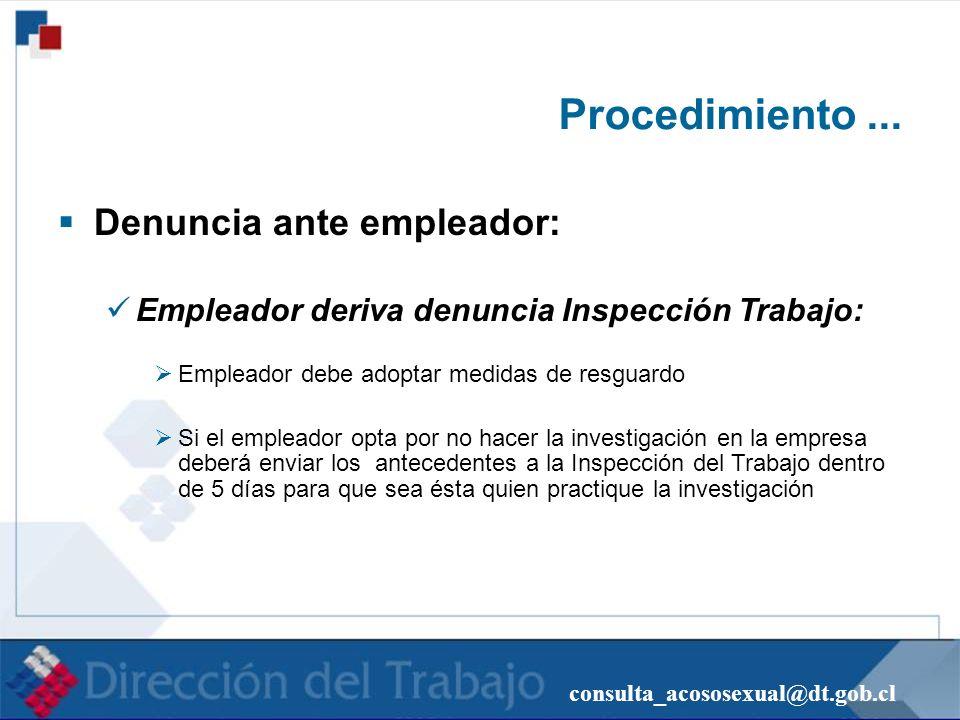 consulta_acososexual@dt.gob.cl Procedimiento... Denuncia ante empleador: Empleador deriva denuncia Inspección Trabajo: Empleador debe adoptar medidas