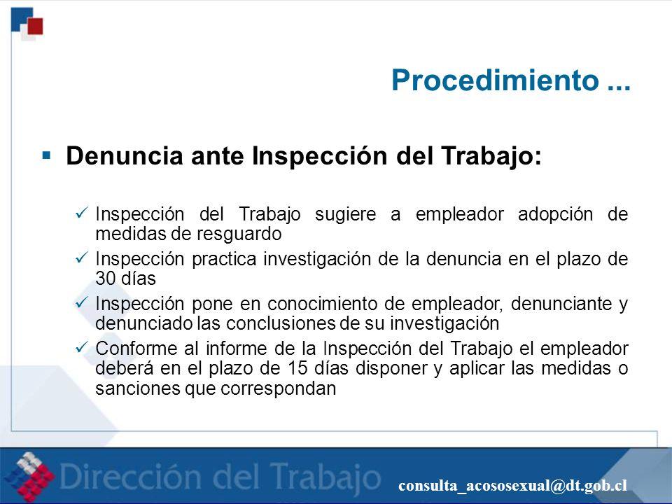 consulta_acososexual@dt.gob.cl Procedimiento... Denuncia ante Inspección del Trabajo: Inspección del Trabajo sugiere a empleador adopción de medidas d