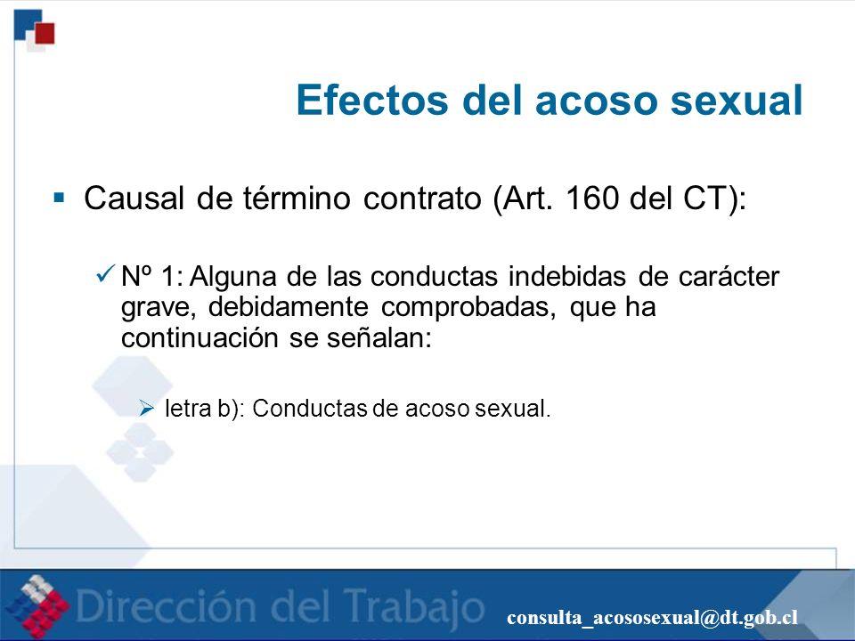 consulta_acososexual@dt.gob.cl Efectos del acoso sexual Causal de término contrato (Art. 160 del CT): Nº 1: Alguna de las conductas indebidas de carác