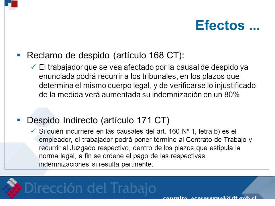 consulta_acososexual@dt.gob.cl Efectos... Reclamo de despido (artículo 168 CT): El trabajador que se vea afectado por la causal de despido ya enunciad