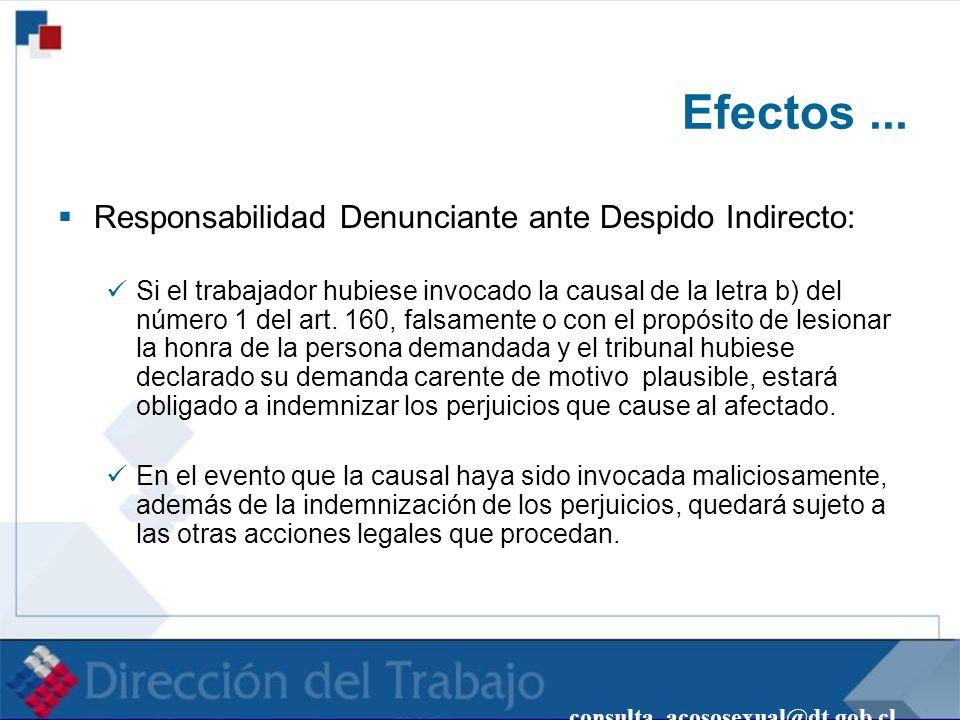 consulta_acososexual@dt.gob.cl Efectos... Responsabilidad Denunciante ante Despido Indirecto: Si el trabajador hubiese invocado la causal de la letra