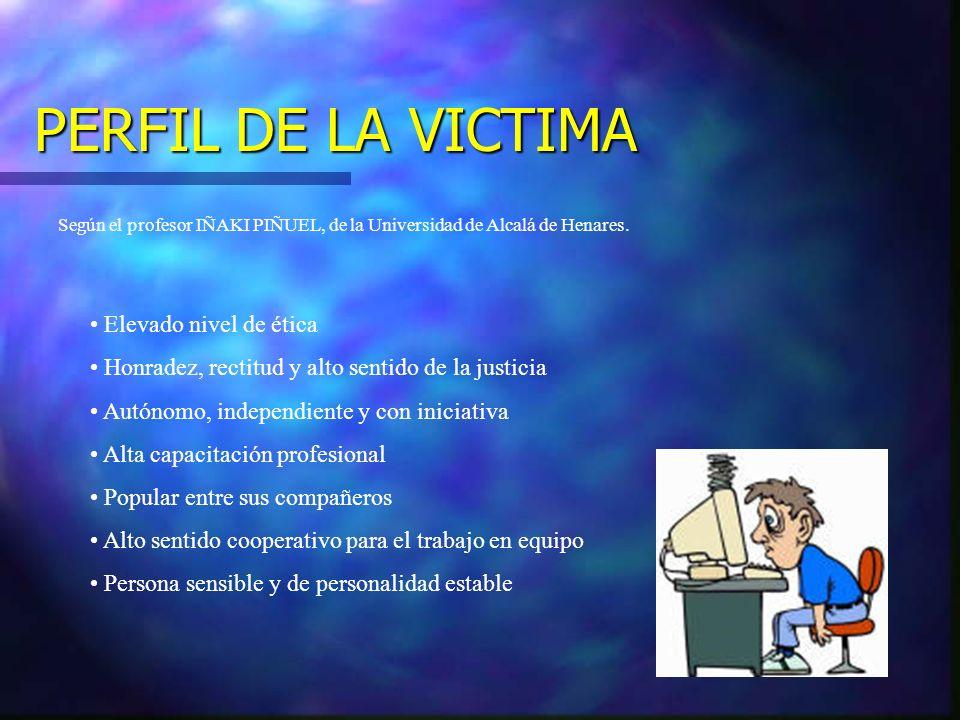 PERFIL DE LA VICTIMA Según el profesor IÑAKI PIÑUEL, de la Universidad de Alcalá de Henares. Elevado nivel de ética Honradez, rectitud y alto sentido
