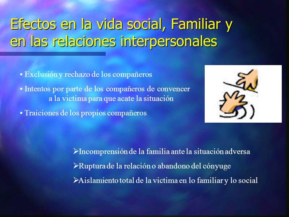 Efectos en la vida social, Familiar y en las relaciones interpersonales Exclusión y rechazo de los compañeros Intentos por parte de los compañeros de