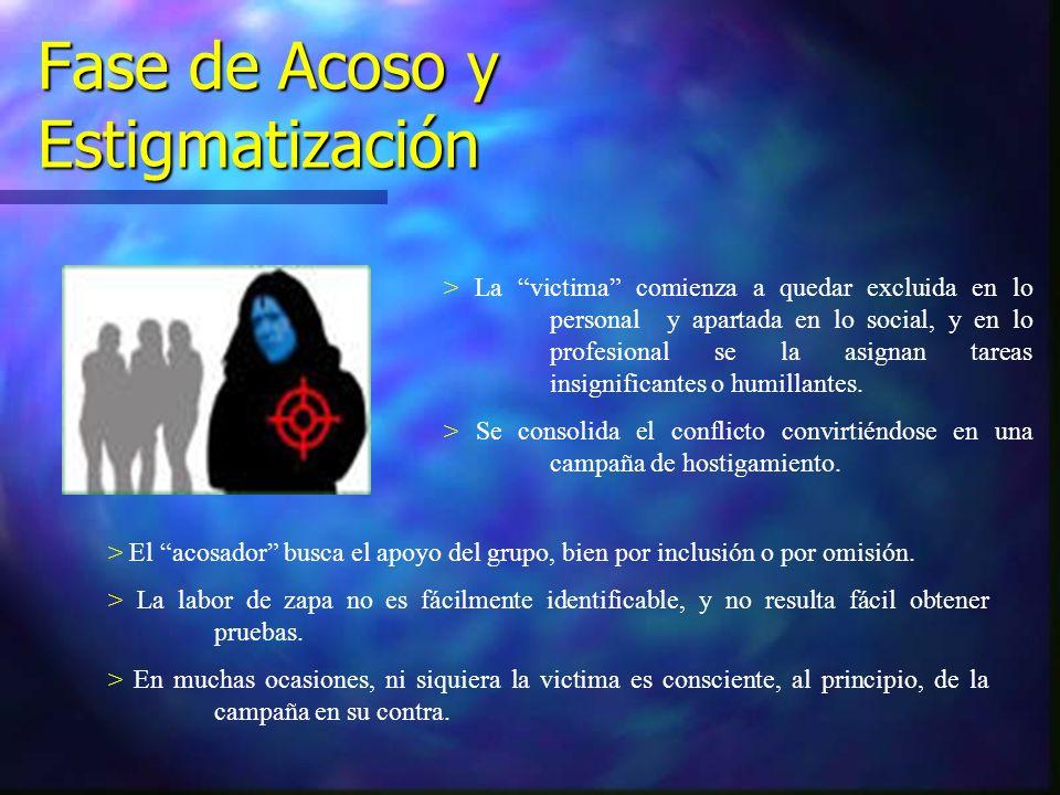 Fase de Acoso y Estigmatización > La victima comienza a quedar excluida en lo personal y apartada en lo social, y en lo profesional se la asignan tare