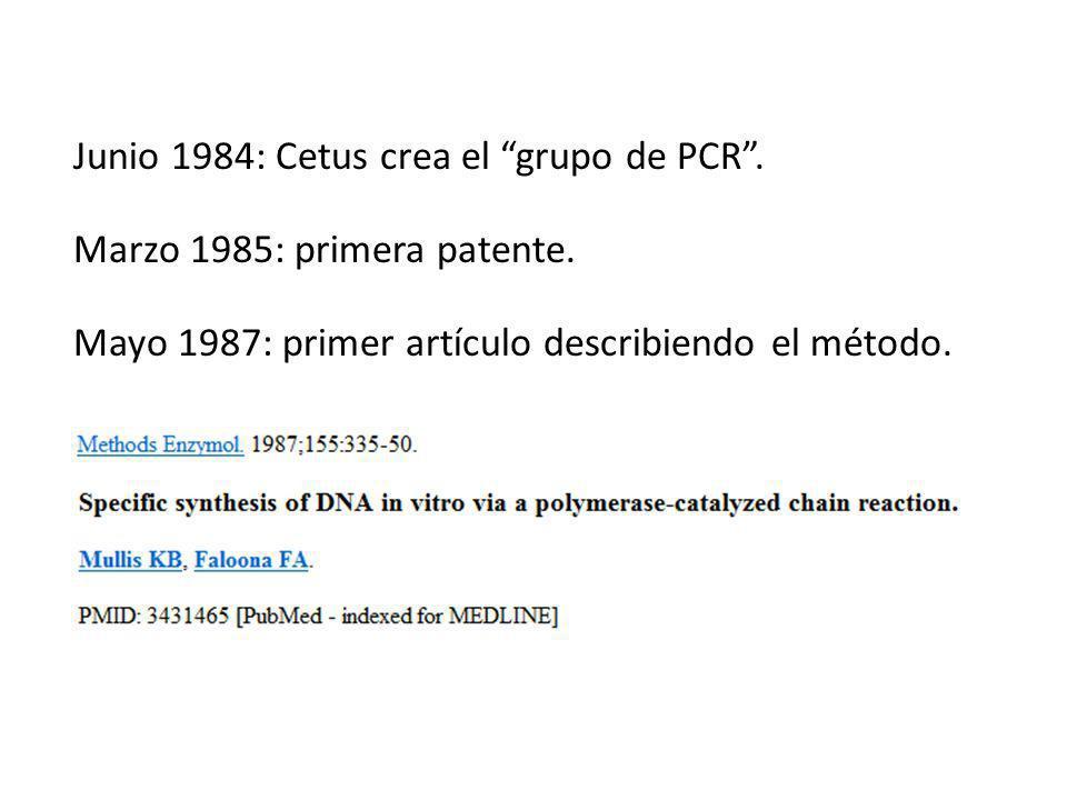 Marzo 1985: primera patente.Junio 1984: Cetus crea el grupo de PCR.