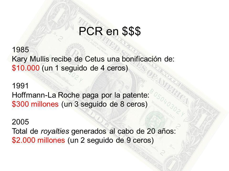 1985 Kary Mullis recibe de Cetus una bonificación de: $10.000 (un 1 seguido de 4 ceros) PCR en $$$ 1991 Hoffmann-La Roche paga por la patente: $300 millones (un 3 seguido de 8 ceros) 2005 Total de royalties generados al cabo de 20 años: $2.000 millones (un 2 seguido de 9 ceros)