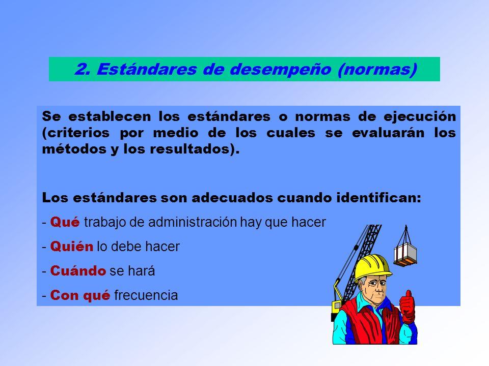 2. Estándares de desempeño (normas) Se establecen los estándares o normas de ejecución (criterios por medio de los cuales se evaluarán los métodos y l