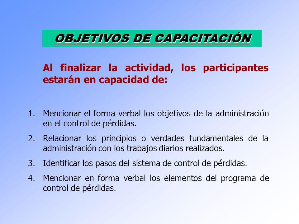 OBJETIVOS DE CAPACITACIÓN Al finalizar la actividad, los participantes estarán en capacidad de: 1.Mencionar el forma verbal los objetivos de la admini