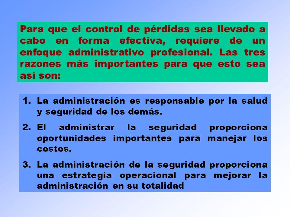 1.La administración es responsable por la salud y seguridad de los demás. 2.El administrar la seguridad proporciona oportunidades importantes para man