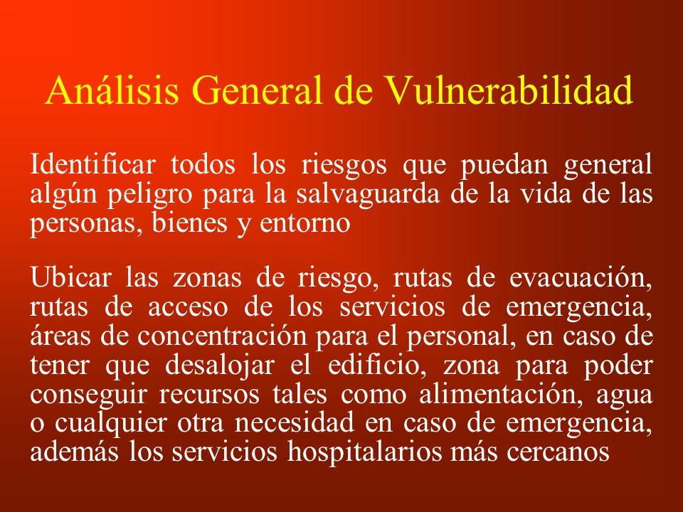 Análisis General de Vulnerabilidad Identificar todos los riesgos que puedan general algún peligro para la salvaguarda de la vida de las personas, bien