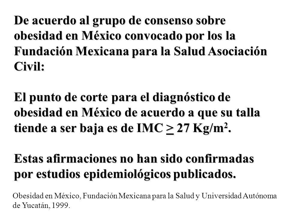De acuerdo al grupo de consenso sobre obesidad en México convocado por los la Fundación Mexicana para la Salud Asociación Civil: El punto de corte par