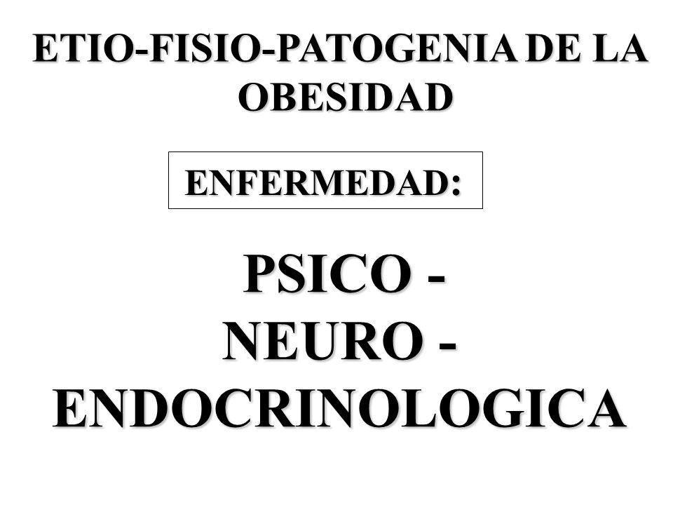 PSICO - PSICO - NEURO - ENDOCRINOLOGICA ETIO-FISIO-PATOGENIA DE LA OBESIDAD OBESIDAD ENFERMEDAD : ENFERMEDAD :