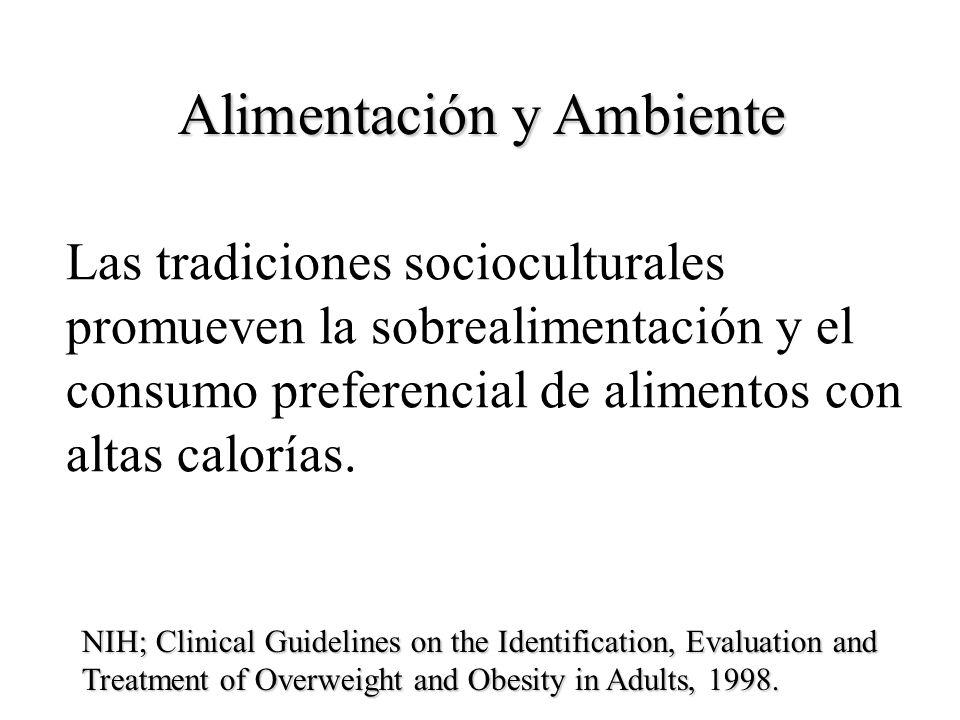 Alimentación y Ambiente Las tradiciones socioculturales promueven la sobrealimentación y el consumo preferencial de alimentos con altas calorías. NIH;